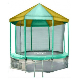 Батут Optifit Like Green 10ft 3,05 м с зелено-желтой крышей